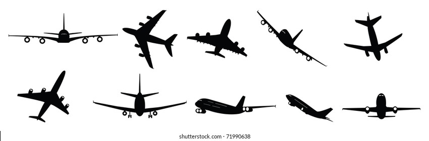 vector collection of large passenger jet aircraft