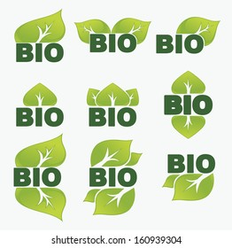 vector collection of leaf signs, symbols and bio slogans