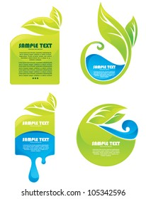 vector collection of leaves and water symbols and stickers
