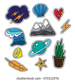 Vector collection lifestyle quirky cartoon badges, pins and patches
