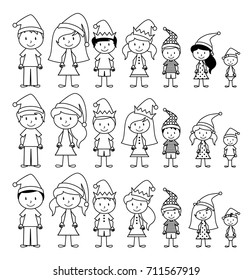 Vector Collection of Line Art Christmas or Holiday Themed Stick Figures or Stick Figure Family