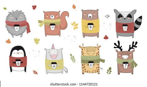 Vector collection of line drawing autumn animals in sweater and scarf. Set of doodle illustrations. Thanksgiving day, Valentine's, anniversary, baby shower, birthday, children's party, autumn holidays