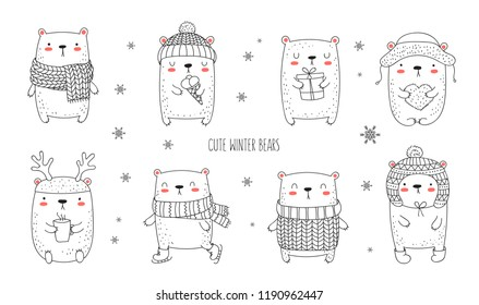 Vector collection of line drawing cute winter bears in cozy clothes. Doodle illustration. Winter holidays, baby shower, birthday, children's party