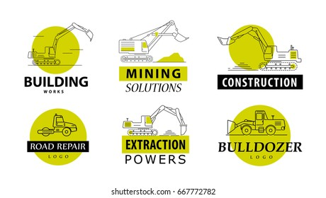Vector collection of linear illustrations of excavators, isolated on white background. Flat style. Side view. Black strokes. Design logos and icons  of excavators.