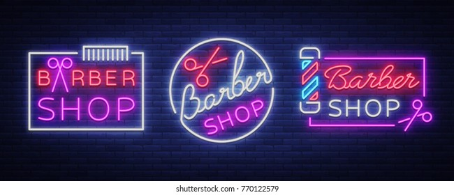 Vector collection logos neon sign barber shop for your design. For a label, a sign, a sign or an advertisement. Hipster Man, Hairdresser Logo. Neon billboard, brightsign, luminous banner