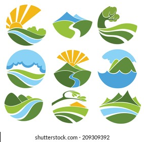 vector collection of lovely landscape and nature  symbols and icons
