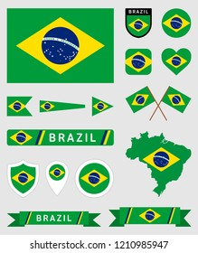 Vector collection of many Brazil flag related illustrations with different shapes for many uses