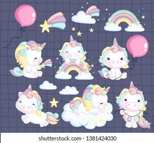 a vector collection of many unicorns