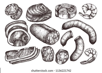 Vector collection of meat, seafood and fish produchts sketches . Hand drawn Pizza ingredients. Vintage food illustrations on white background.