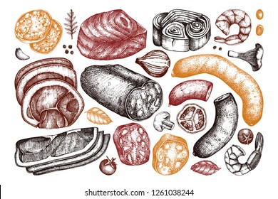 Vector collection of meat, seafood and fish produchts sketches. Hand drawn Pizza ingredients. Vintage food illustrations on white background.