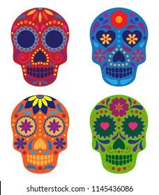 vector collection of mexican sugar skulls