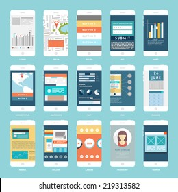 Vector Collection of Mobile Phones with User Interface Elements. Modern Flat Style Design Templates Set.