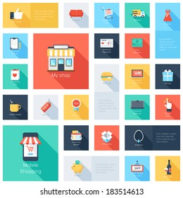 Vector collection of modern flat and colorful shopping icons with long shadow.