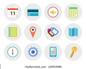 Vector collection of modern icons in flat design on various theme. Isolated in gray circle on white background.