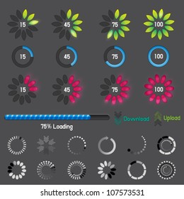 Vector collection of modern preloaders, progress loading bars and downloading circle. Jpeg version also available in gallery.