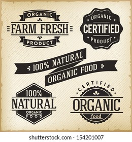 Vector Collection of Monoprint Vintage Labels for Organic Food Product