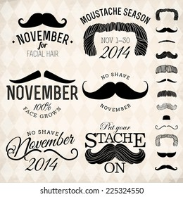 Vector collection of moustache emblems | Mustache themed retro looking insignia set on no shave november