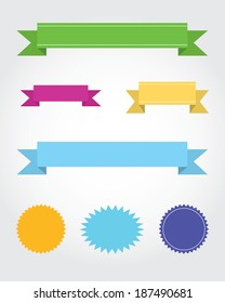 A vector collection of multicolour starbursts and banners
