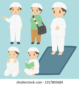 Vector collection of a Muslim boy doing his daily activities. Muslim boy reading quran, praying, and salat.