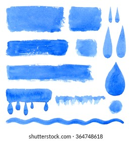 Vector collection of natural blue watercolor labels, shapes, drops, rectangles on white background. Hand drawn water drops, painted stains set.