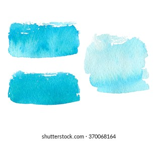 Vector collection of natural blue watercolor rectangle labels, shapes on white background. Hand drawn blue water painte stains set.