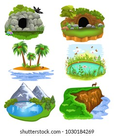 Vector collection of nature clip arts illustrating animal cave, den, island, pond, lake and cliff