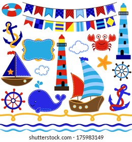 Vector Collection of Nautical and Sailing Themed Elements