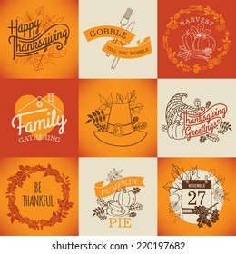 Vector collection of nine thanksgiving decoration elements | Happy thanksgiving lettering items | Thanksgiving printable items with calendar, horn of plenty and autumn leaves