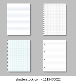 vector collection of note sheets on white background