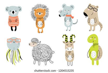 Vector collection ofcute animals for kids in scandinavian style. Hand drawn graphic zoo. Perfect for baby shower, postcard, label, brochure, flyer, page, banner design.