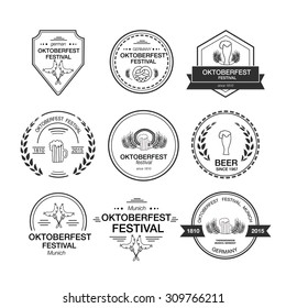 Vector Collection of Oktoberfest hand drawn logo templates. Vintage badges and icons.Hand sketched modern icons.Beer Festival vector banner. Lettering typography for poster, card