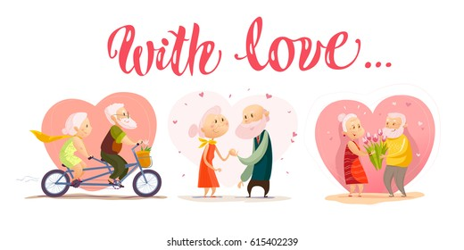 Vector collection of old cute loving couple portrait isolated on white background. Flat cartoon style. Love forever. Grandparents characters illustration. Happy people. Good for lovely postcard design