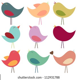 Vector Collection of Pastel Birds