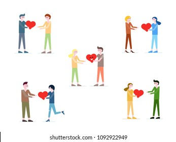 Vector collection of people giving red heart to each other. Mother and daughter, son and father, friends, couple, people in love concept. Symbol of love, gratitude and friendship. Donation concept