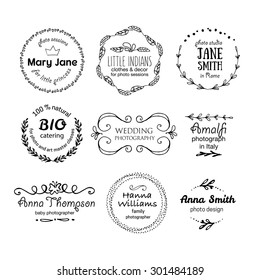 Vector collection of photography hand drawn logo templates. Wedding, family, children photographer logotypes. Photography vintage badges and icons. Hand sketched modern icons. Photo labels.