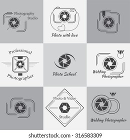 Vector collection of photography logo templates. Photography Logos, Badges and Labels Design Elements set. Modern icons