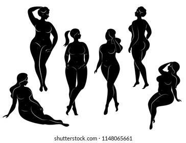 Vector collection of plus size pin up girls. Black and white. Set of elegant overweight ladies
