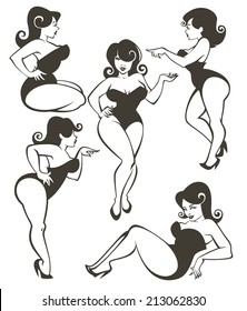 vector collection of plus size pin up girls