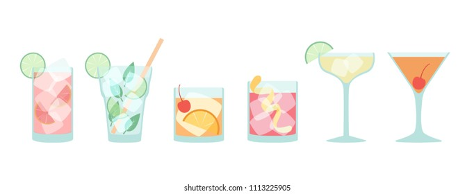 Vector collection of popular cocktails in flat style isolated on white - Mojito, Daiquiri, Old Fashioned, Negroni, Manhattan, Sea Breeze, with ice cubes and proper decoration