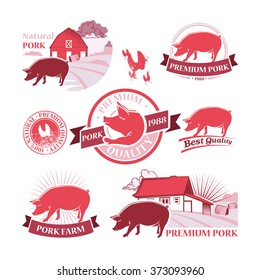 Vector collection of Pork Farm colored Labels and Design Elements in Vintage Style for your design