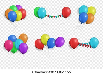 Vector collection of realistic balloons for celebration and decoration on the transparent background.