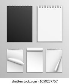 Vector collection of realistic notebooks with different positions of pages isolated on grey background