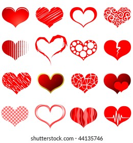 Vector collection of red heart shapes isolated on white background.