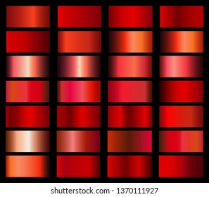 Vector collection of red metallic gradients and chrome gradient set icon