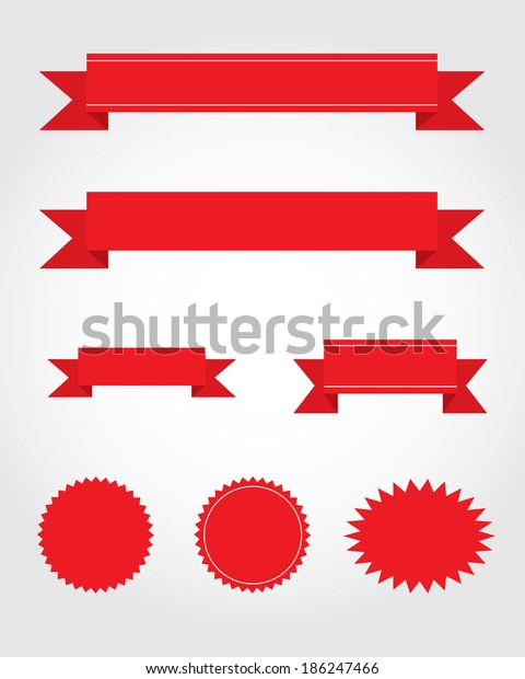 Vector Collection Red Ribbon Starburst Attention Stock Vector