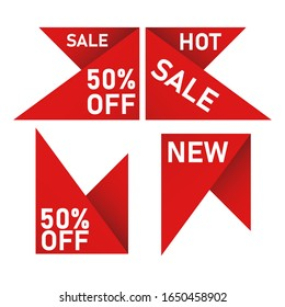 Vector collection of red sale tags with text. Labels or Ribbons for banners and posters design
