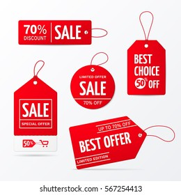 Vector collection of red sale tags with text - Limited edition, best choice, special offer. Labels for banners and posters design. Isolated from the background