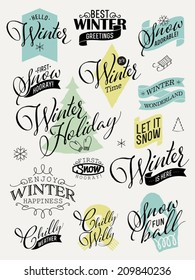 Vector collection of retro styled winter design elements featuring phrases about snow, cold weather, winter happiness and others | Everything for winter greeting card design | Scrapbook winter set