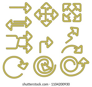 Vector collection of rope shaped arrow.