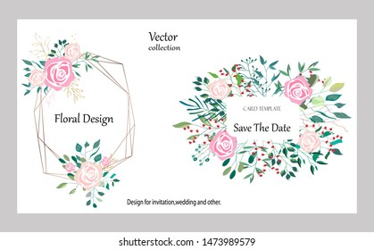 Vector collection with roses,leaves and geometric. Botanic Design for banner, wedding, poster, invitation, cover, placard, brochure, header.